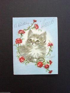 Marjorie M. Cooper Birthday Greeting Card Cat & Pink Carnations