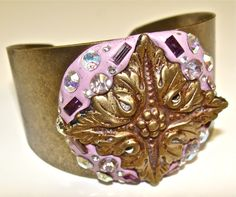cool vintage style bracelet with Swarovski Elements and Crystal Clay