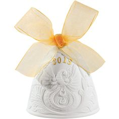 Lladró Gold & White 2015 Porcelain Christmas Bell (98 BAM) ❤ liked on Polyvore featuring home, home decor, holiday decorations, spanish home decor, christmas home decor, handmade home decor, lladró and christmas holiday decorations