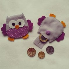 Learn how to make felt owl purses - Arthur Marlow Clay Crafts, Felt Crafts, Fabric Crafts, Sewing Crafts, Diy And Crafts, Sewing Projects, Crafts For Kids, Arts And Crafts, Owl Purse
