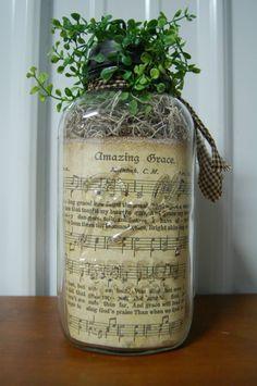 Old Mason Jar Primitive Amazing Grace sheet music inside the jar