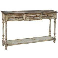 @Overstock - This distressed natural cream accent console table features three functional drawers and a lower shelf for storage and display. The console table offers elegant antique brass finished hardware.http://www.overstock.com/Home-Garden/Distressed-Natural-Cream-Accent-Console-Table/6771473/product.html?CID=214117 $433.99