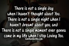 There is not a single day when I haven't thought about You. There is not a single night when I haven't dreamt about you, and There is not a single moment ever gonna come in my life when I stop Loving You...