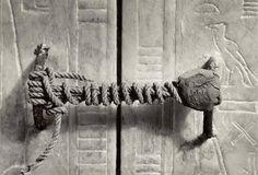 The unbroken seal On Tutankhamen's Tomb, 1922 (3,245 years untouched).