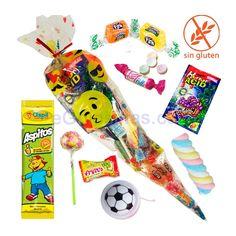 CONO LLENO DE CHUCHES con JUGUETE ideales para Fiestas de cumpleaños o para regalar dulces en una boda. Contienen: 1 snack, 1 piruleta, 1 nube envuelta, 1 paquete de caramelos comprimidos, 2 gummys, 1 sobre pica pica, 1 chicle y 1 juguete (puede variar). La marca o sabor de los productos pueden variar.  Todos los productos son sin gluten y van envueltos individualmente.