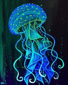 Jellyfish Drawing, Jellyfish Painting, Trippy Painting, Neon Painting, Painting & Drawing, Octopus Painting, Jellyfish Tattoo, Jellyfish Quotes, Sidewalk Chalk Art