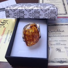 Ring made of Baltic Amber & Silver 925.