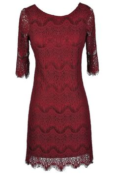 #Lily Boutique - #Lily Boutique Vintage-Inspired Lace Overlay Dress in Wine - AdoreWe.com