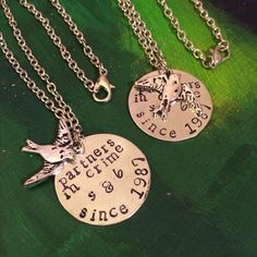 Partners in Crime Set- hand stamped, personalized necklace with bird charm or bead of choice on Etsy, $46.00