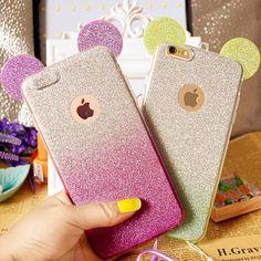 3D Minnie Chuột Mickey Ears silicone Long Lanh Gradient Trường Hợp đối với iPhone 4 4 S 5 5 S 6 6 S 7 Cộng Với Trường Hợp Che điện thoại trường hợp
