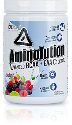 Aminolution Fruit Punch Flavor  Advanced Plant Based BCAA Branch Chain Amino Acids  Essential Amino Acid cocktail by Body Nutrition  Featuring 12g of Amino Acids  14oz 30 Servings >>> Read more at the image link. (This is an affiliate link)