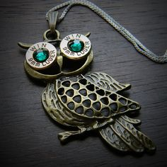 Bullet Jewelry by JECTZ® - Antique Bronze Owl Bullet Necklace for Women, $29.95 (http://www.jectz.com/antique-bronze-owl-bullet-necklace-for-women/)