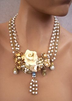 Wedding Necklace Hand Sculpted Roses Recycled by secondlookjewelry