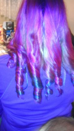 Purple and blue curls done by me