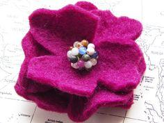 magenta wool felt flower pin, etsy, $8