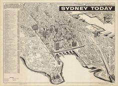 Sydney today [1960s] The Rocks Sydney, Urban Concept, Plan Sketch, Urban City, Historical Images, Vintage Maps, Cities, Sydney Harbour Bridge
