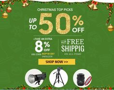 Christmas Big Sale: Products up to 50% off + Extra 8% off Coupon Code: NCP161207 ! #linkdelight #photography