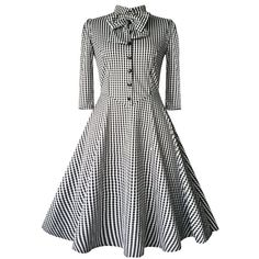 Checked Bow Sweet Heart Neck Swing Dress - BLACK M