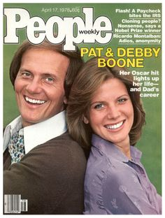 "Vintage People Magazine Pat & Debby Boone April 17 1978 Date Published: April 1978 Cover Feature Photo: Pat & Debby Boone COVER STORY Pat and Debby Show Debby Boone's Career 'Light's Up"" with an Oscar Nod, No. 1 Hit, and a Headliner in Vegas with Dad. Debby Boone, Pat Boone, Celebrity Singers, Celebrity Couples, People Magazine, Life Magazine, Magazine Rack, Vintage Barbie Clothes, Seventeen Magazine"