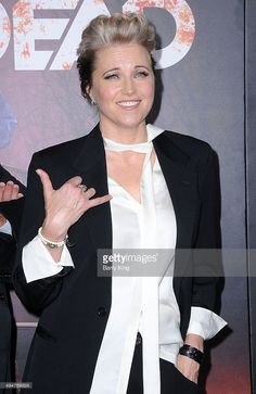 Actress Lucy Lawless arrives at the Premiere of STARZ's 'Ash vs Evil Dead' at TCL Chinese Theatre on October 28, 2015 in Hollywood, California.