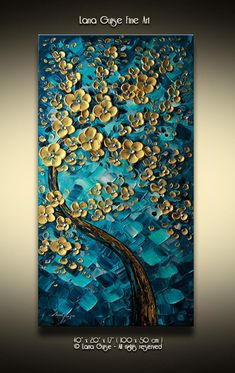 Tree Painting Gold Flowers Blossom Tree Painting Teal Blue - Original Oil Abstract Heavy Textured Palette Knife Painting By Lana Guise Thick Gallery Canvas Ready To Hang Made To Order Painting Of One Previously Sold The Painting Will Be Recreated Abstract Tree Painting, Texture Painting On Canvas, Palette Knife Painting, Textured Painting, 3d Painting, Abstract Art, Diy Canvas Art, Acrylic Art, Painting Inspiration