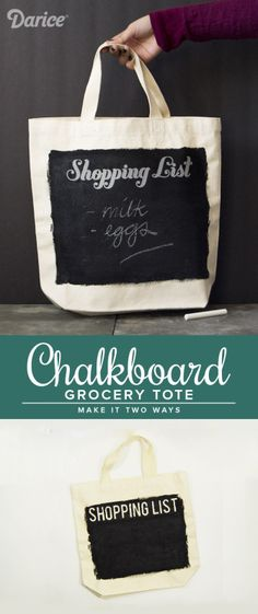 Make a chalkboard DIY tote bag that you can write your grocery list on! This tutorial shows how you can make two different versions of a chalkboard tote.