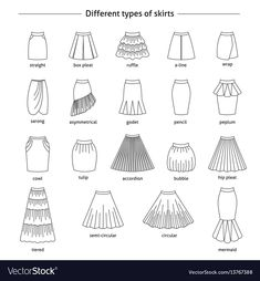 Fashion design sketches 108086459795145459 - Set of different types of skirts Royalty Free Vector Image Source by violettevb Fashion Design Sketchbook, Fashion Illustration Sketches, Fashion Design Drawings, Fashion Sketches, Medical Illustration, Art Sketchbook, Fashion Terminology, Fashion Terms, Clothing Sketches