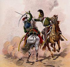 Mamelouk de la Garde et dragon russe au combat