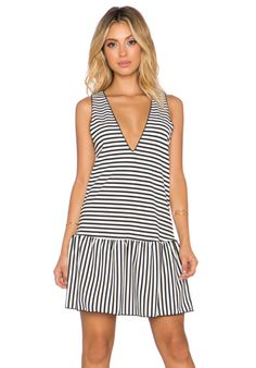 The LDRS Drop Waist Striped Dress in Black & White | REVOLVE