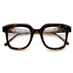 - Description - Measurements - Shipping - Retro thick framed square horn rimmed eyeglasses that features smooth bold curves and clear see through lens. Great for a bold retro look this season. Made wi
