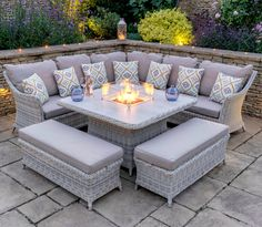 Ridgemoor 9 Seater Rattan Corner Sofa Set - With its cosy cushioning, tactile table top and fancy firepit, this Ridgemoor 9 Seater Rattan Effec - Outdoor Decor, Outdoor Patio Furniture, Rattan Garden Furniture, Patio Design, Backyard Furniture, Outdoor Garden Furniture, Garden Sofa Set, Rattan Corner Sofa, Garden Furniture Sets