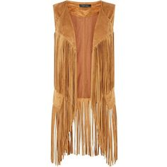 Tan Suedette Fringed Sleeveless Jacket (21 CAD) ❤ liked on Polyvore featuring outerwear, jackets, cardigans, no sleeve jacket, sleeveless jacket, beige jacket, fringe jacket and collar jacket