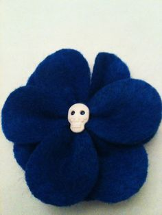 Felt Flower hair pin w/ Sugar skull center by LasFloresBoutique, $3.00