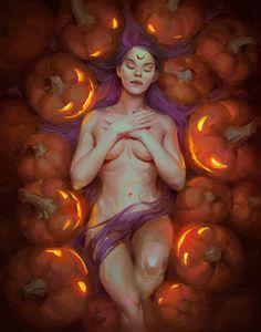 helloween by Veronika Kozlova Character Inspiration, Character Art, Character Design, Fantasy Women, Fantasy Art, Fantasy Fiction, Scream, Wolf, Witch Art