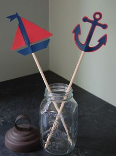 Nautical Centerpieces, 8 Pcs, Sailboat and Anchors. $14.00, via Etsy.
