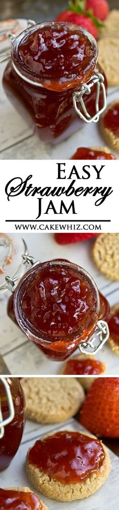This easy HOMEMADE STRAWBERRY JAM is made with no pectin and tastes delicious on cakes, cupcakes, cookies, bread and so much more! From cakewhiz.com