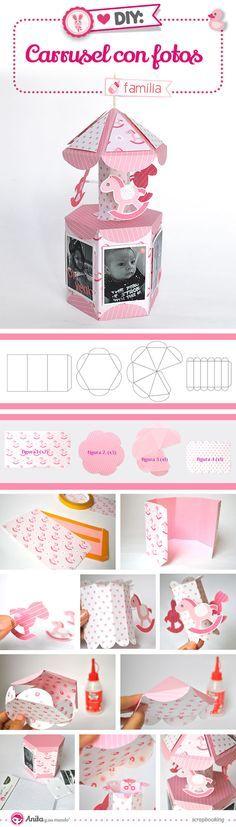 DIY: cómo hacer un mini álbum para bebé de papel con formato carrusel. Plantillas en el enlace. #anitaysumundo #scrap #craft #manualidades #bebe #baby #babygirl #stepbystep #homedecor