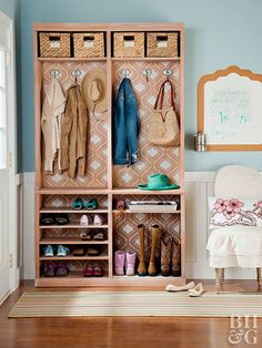 Does your entryway need a storage boost? Create an entryway organizer that fits almost anywhere with a simple bookcase that you can customize to fit your needs. We'll show you how. #storage #entrywaydecor #diy #entryway #entrywayideas