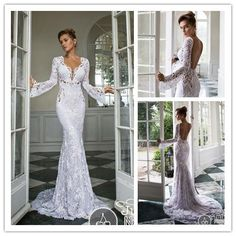 Find More Wedding Dresses Information about 2015 Sexy Waist Hollow deep V Neck long sleeve wedding dress mermaid floor length lace open back NT 810,High Quality dress colors,China dress and coat suits Suppliers, Cheap dresses 70s from Suzhou Amy wedding dress co., LTD on Aliexpress.com