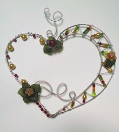 Beaded Wire Asymmetrical Heart Sun Catcher Earthy by DesignByMeg