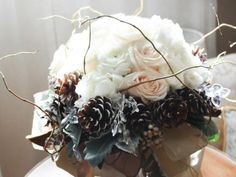 Christmas wedding bouquet with white rose