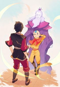 "Zuko, Roku, and Aang. I can just hear that awkward conversation now. Aang: ""Ah, Zuko?*technically* your great grandfather. Avatar Aang, Avatar Airbender, Avatar Legend Of Aang, Avatar The Last Airbender Funny, The Last Avatar, Team Avatar, Legend Of Korra, Avatar Fan Art, Fan Art Sherlock"