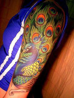 49 Peacock Half Sleeve Tattoo