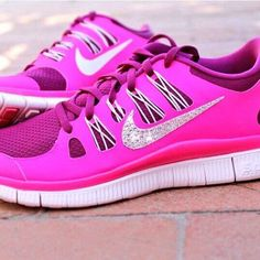 Bright pink nike shoes. Add some sparkles on the logo and voila ! Gorgeous !