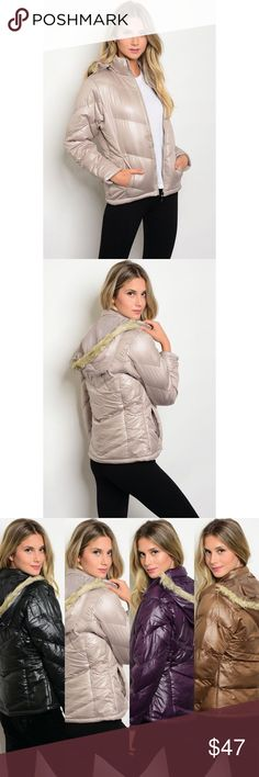 New sand puffer jacket New long sleeve sand colored puffer jacket with faux fur detachable trimmed hood.     Also available in mocha, purple and black on another listing.  Junior sizing. Jackets & Coats Puffers