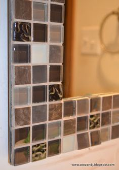 For your Bathroom design. Laura Jenkins saved to that Big Bathroom Mirror with tile! A to Z with a little J: Mirror Makeover Diy Mirror Frame Bathroom, Mirror Tiles, Mirror Mosaic, Bathroom Ideas, Redo Mirror, Frame Mirrors, Door Mirrors, Big Mirrors, Navy Bathroom