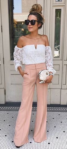 #summer #outfits 4. Wide-leg Pants. It Took Me A Second To Jump On This Trend (I've Always Been A Distressed Skinny Jean Type Of Girl) But When I Saw These I Fell In Love! Pick A Color That Can Transition Into Any Season - The Blush Is Actually Super Versatile And One Of Fall's Hottest Colors. Love The High-waist On This Pair Which Gives The Illusion Of Longer Legs.XX
