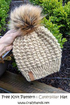Free Childrens Knitting Patterns, Beanie Knitting Patterns Free, Knitted Headband Free Pattern, Beanie Pattern Free, Baby Hats Knitting, Knit Patterns, Free Knitting, Chunky Hat Pattern, Chunky Crochet Hat