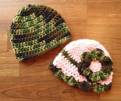 Crocheted Baby Camo & Pink Camo Twin Hat Set by KaraAndMollysKids, $27.00