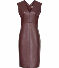 REISS.COM ARNIS LEATHER DRESS DEEP BORDEAUX
